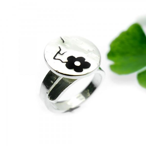 Minimalistischer kleiner Sterling Silber Ring mit blaues Harz NIJI
