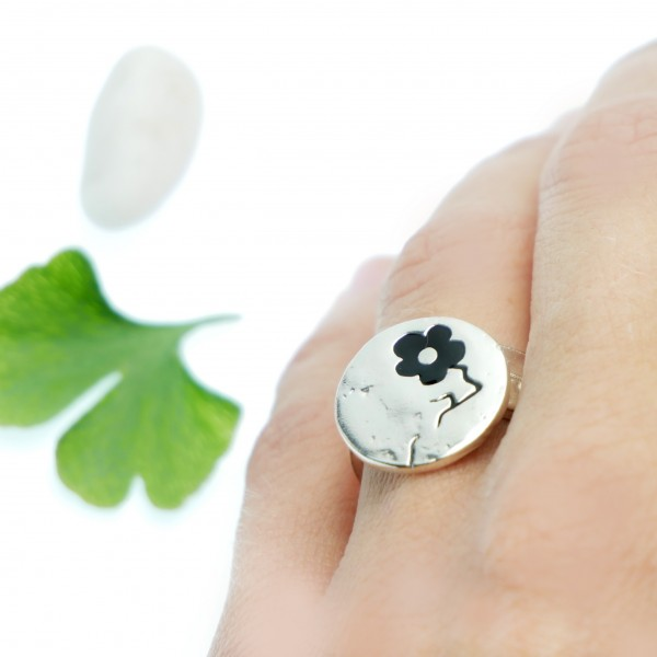 Black Cherry Blossom adjustable sterling silver ring Cherry Blossom 77,00 €