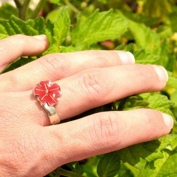 Little sterling silver ring with poppy red resin