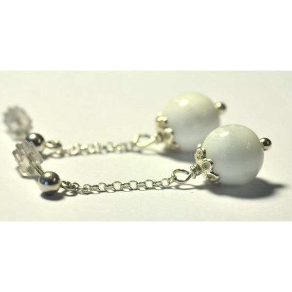 Boucles d'oreilles en argent massif et perles améthyste