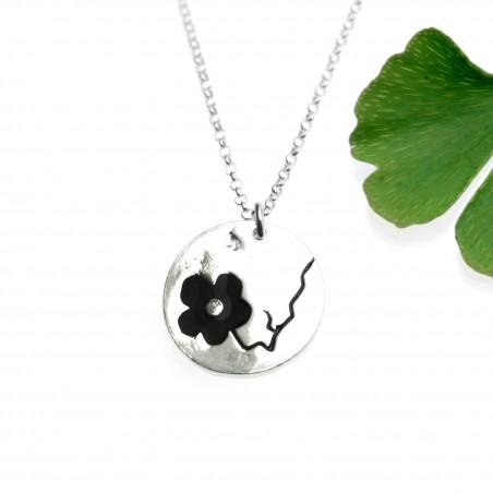 Sakura black flower necklace in 925/1000 silver made in FranceDesiree Schmidt Paris Cherry Blossom 57,00€