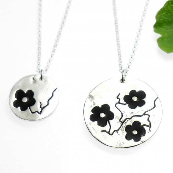925/1000 silver black sakura pendant necklace made in France Desiree Schmidt Paris Cherry Blossom 57,00€
