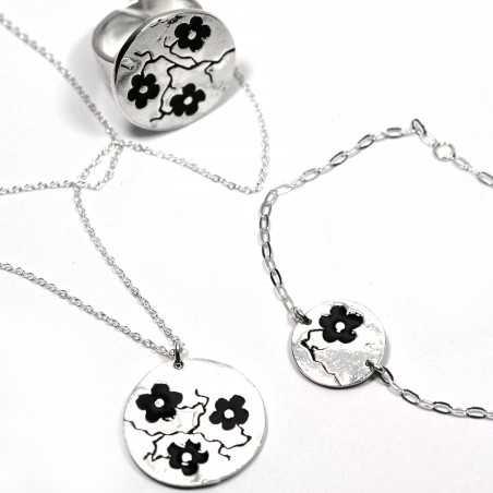 Black Sakura pendant on 925 silver chain made in France Desiree Schmidt Paris Cherry Blossom 57,00€