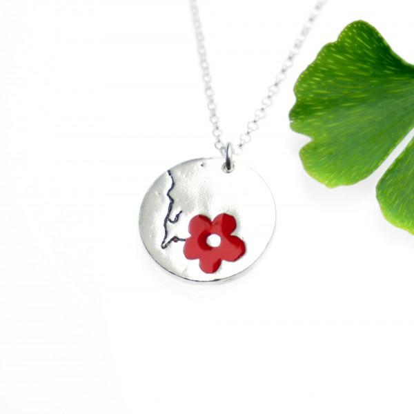 Collier réglable rond Fleur de Cerisier en argent massif et resine Fleurs de Cerisier 57,00€