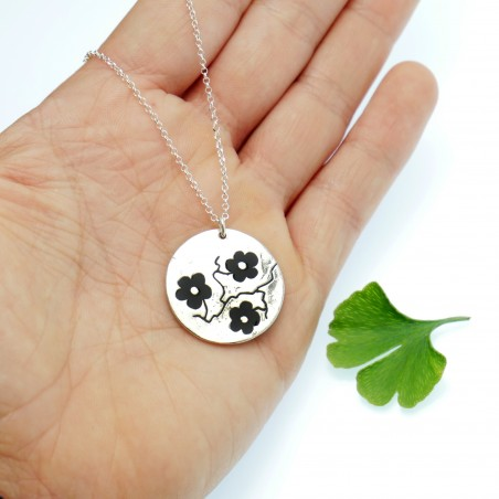 925/1000 silver black cherry blossom pendant necklace made in France Desiree Schmidt Paris Cherry Blossom 77,00€