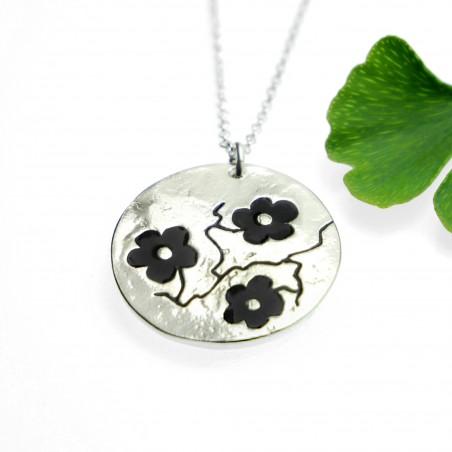 Black Sakura flower necklace in 925/1000 silver made in France Desiree Schmidt Paris Cherry Blossom 77,00€