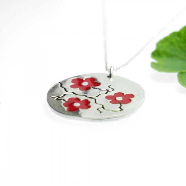 Fine red Sakura flower necklace in sterling silver 925 made in France Desiree Schmidt Paris Cherry Blossom 77,00€