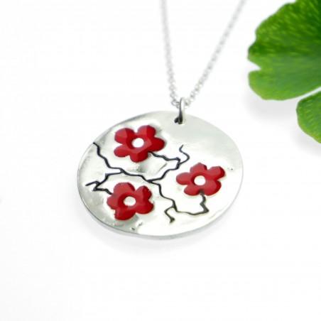 Red Sakura flower necklace in 925/1000 silver made in FranceDesiree Schmidt Paris Cherry Blossom 77,00€