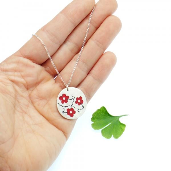 925/1000 silver red sakura pendant necklace made in France Desiree Schmidt Paris Cherry Blossom 77,00€