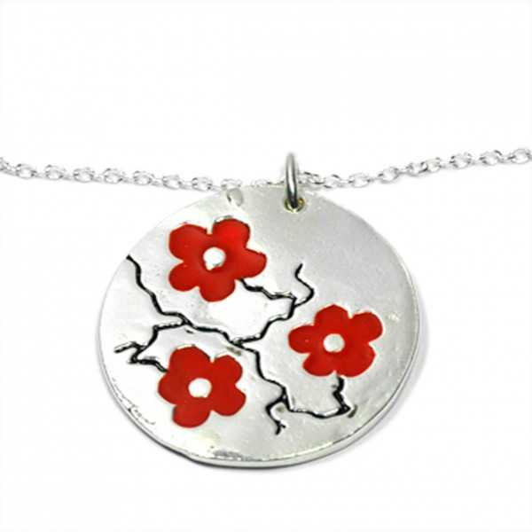 Pendant on 925/1000 silver red flower chain made in France Desiree Schmidt Paris Cherry Blossom 77,00€