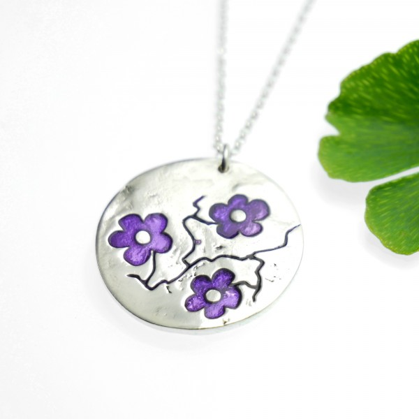 Sakura purple flower necklace in 925/1000 silver made in FranceDesiree Schmidt Paris Cherry Blossom 77,00€
