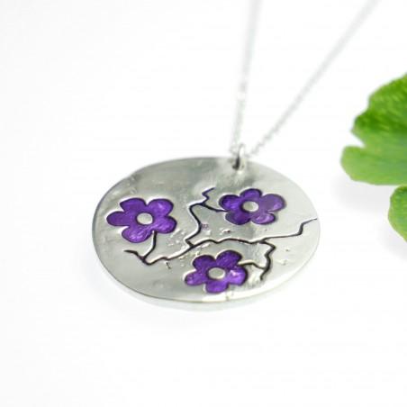 Fine purple Sakura flower necklace in sterling silver 925 made in France Desiree Schmidt Paris Cherry Blossom 77,00€