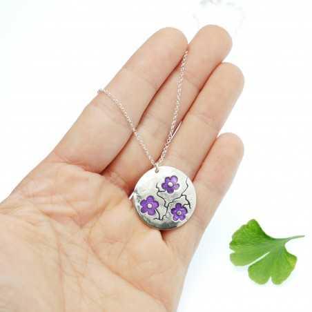 Purple sakura pendant on 925 silver chain made in France Desiree Schmidt Paris Cherry Blossom 77,00€