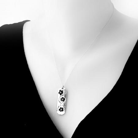 Sterling silver black Cherry Blossom long necklace. Desiree Schmidt Paris Cherry Blossom 77,00€