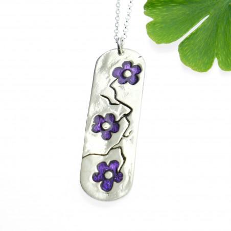 Minimalist sakura long pendant in 925 silver made in France Desiree Schmidt Paris Cherry Blossom 77,00€