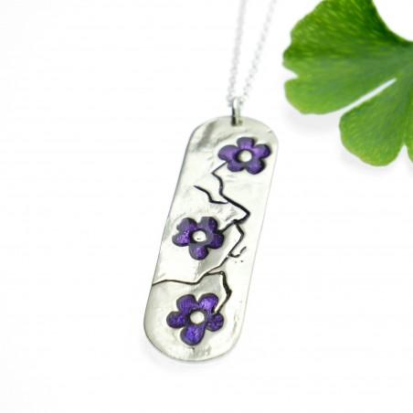 Minimalist necklace purple flower silver 925 made in France Desiree Schmidt Paris Cherry Blossom 77,00€