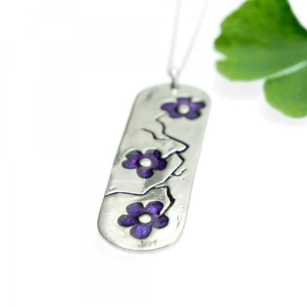 Purple Sakura long pendant on 925 silver chain made in FranceDesiree Schmidt Paris Cherry Blossom 77,00€