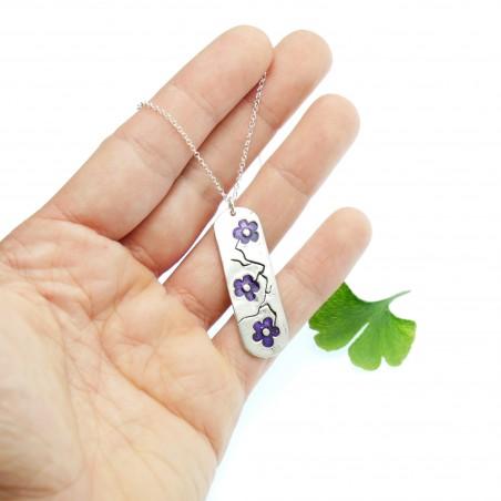 925/1000 silver purple Sakura long pendant necklace made in France Desiree Schmidt Paris Cherry Blossom 77,00€