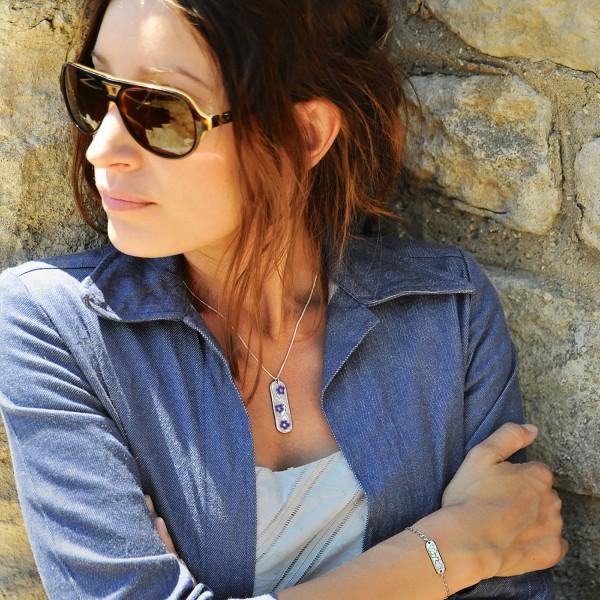 Sterlingsilber durchsichtige Violette Kirschblumen Halskette Desiree Schmidt Paris Kirschblumen 77,00€