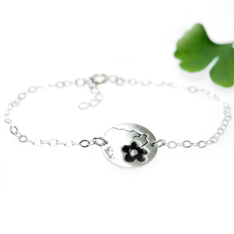 Minimalistischer kleiner Sterling Silber Ring mit Grünes Harz NIJI