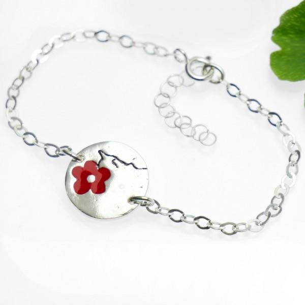 Bracelet rond Fleurs de Cerisier en argent massif et résine rouge Fleurs de Cerisier 57,00€