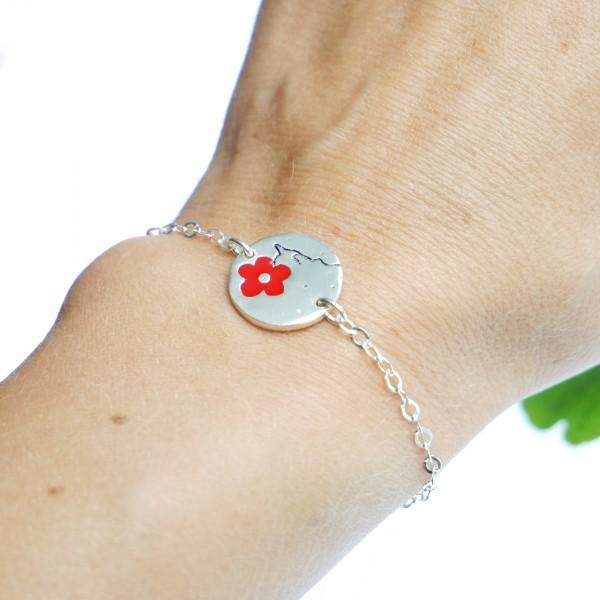 Red Cherry Blossom sterling silver bracelet Cherry Blossom 57,00€