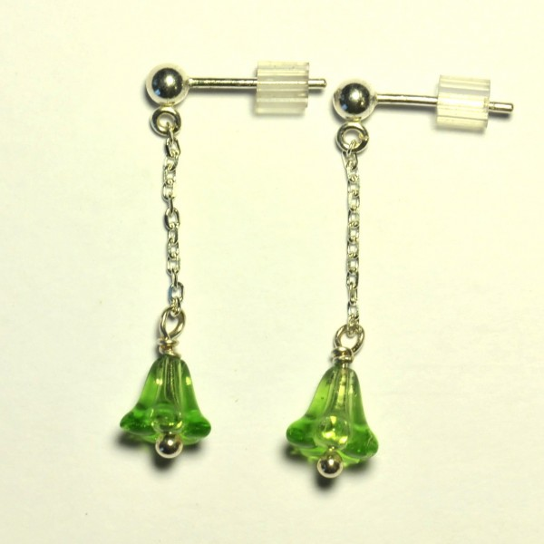 Sterling silver pendant earrings. Glass beads.