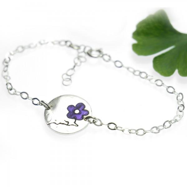Sterling Silber Violetter Kirschblumen Armband Kirschblumen 57,00€