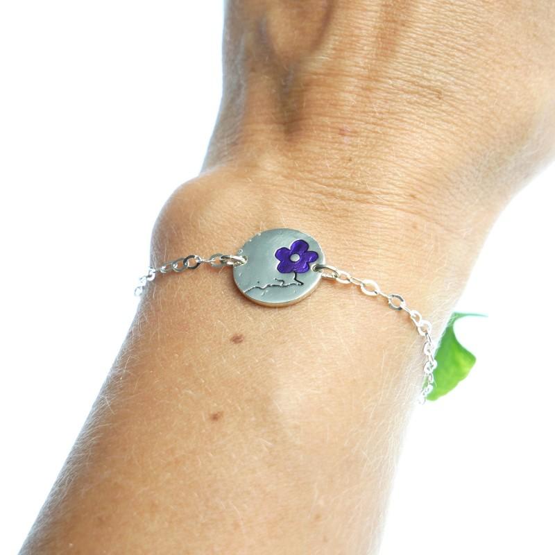 Minimalistischer kleiner Sterling Silber Ring mit dunkle violettes Harz NIJI
