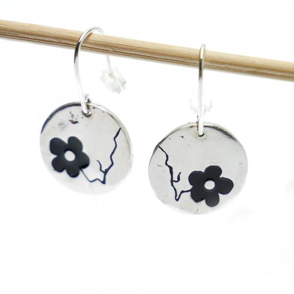Boucles d'oreilles Fleurs de Cerisier noires en argent massif 925 Fleurs de Cerisier 85,00€