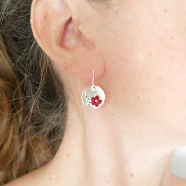 Boucles d'oreilles rondes Fleurs de Cerisier en argent massif 925 Fleurs de Cerisier 77,00€