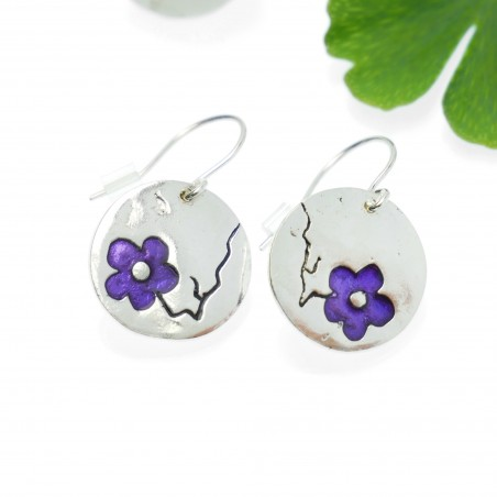 Cherry Blossom round earrings. Sterling silver and resin. Cherry Blossom 77,00 €