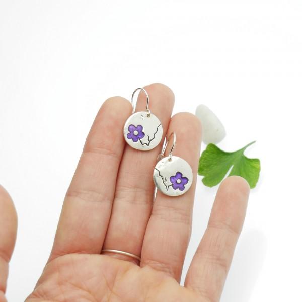Boucles d'oreilles rondes Fleur de Cerisier en argent Fleurs de Cerisier 77,00€