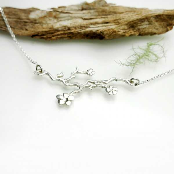 Prunus flower adjustable Sterling silver necklace Prunus 77,00€