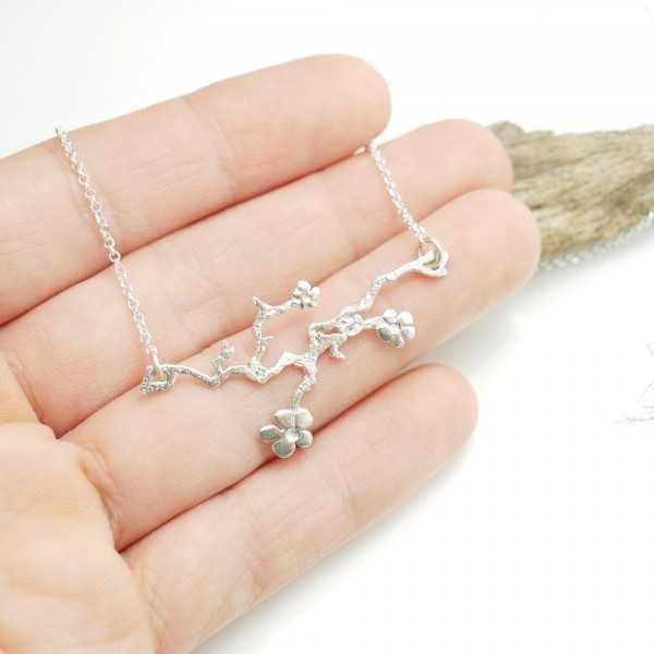 Sterling Silber verstellbare Prunus Blumen handgemachte Halskette Prunus 77,00€