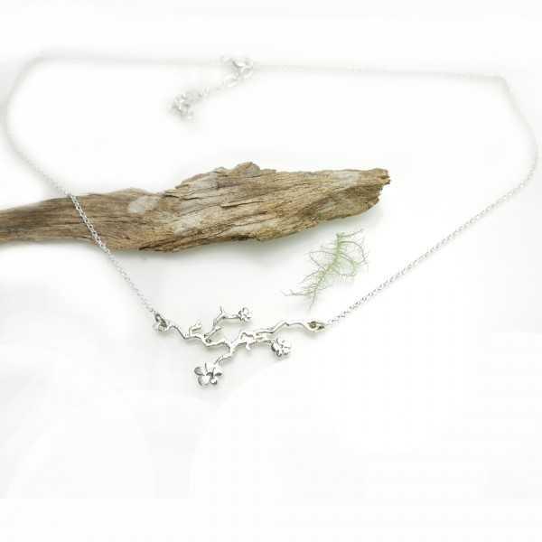 Minimalist sakura pendant in 925 silver made in France Prunus 77,00€