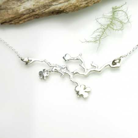 Minimalist necklace flower silver 925 made in France Prunus 77,00€