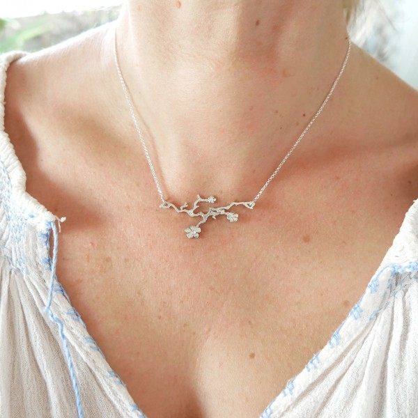Sterling Silber verstellbare Prunus Blumen Halskette Prunus 77,00€
