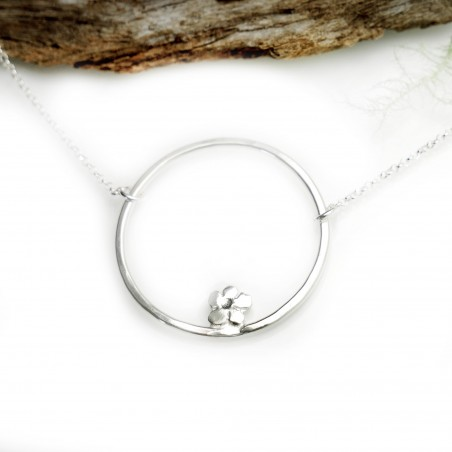 Minimalist necklace flower silver 925/1000 made in France Prunus 57,00€