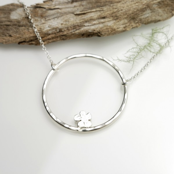 Necklace for woman silver 925 flower made in France Prunus 57,00€
