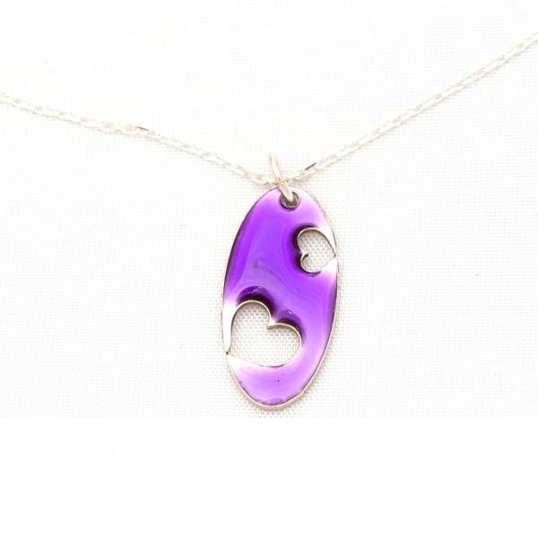Collier Valentine oval en argent massif et résine violette  Valentine 57,00€