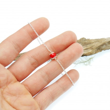 Poppy red glass bead bracelet, adjustable and minimalist in solid silver 925/1000 Home 23,00€