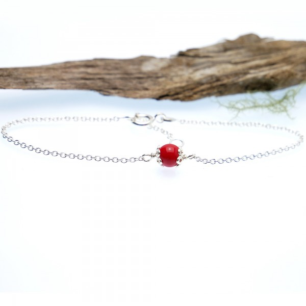 Poppy red glass bead bracelet, adjustable and minimalist in solid silver 925/1000 Home 23,00 €