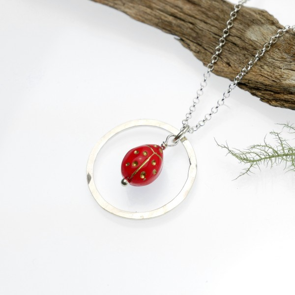 Red and gold ladybug necklace in sterling silver 925/1000 Home 35,00€