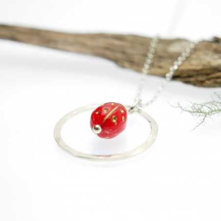 Red and gold ladybug necklace in sterling silver 925/1000 Desiree Schmidt Paris Home 35,00€