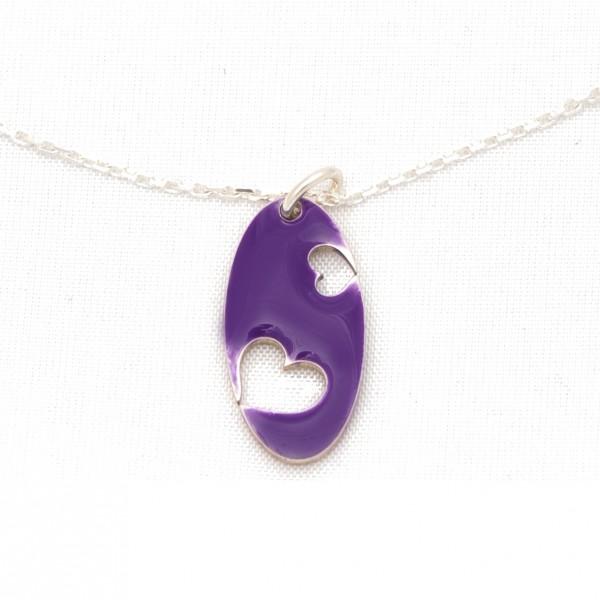 Collier Valentine oval en argent massif et résine violette Desiree Schmidt Paris Valentine 57,00€