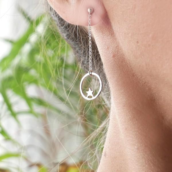 Nova star pendant earrings. Sterling silver.  Nova 57,00€
