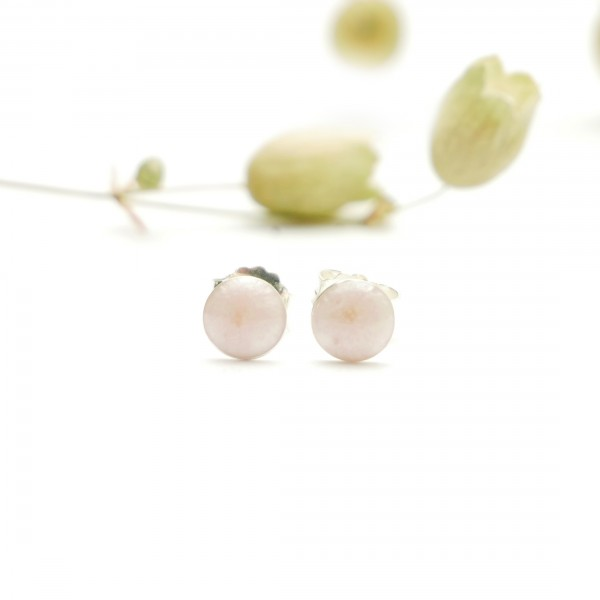 Sterling silver minimalist earrings with light pink pearl resin NIJI 25,00 €