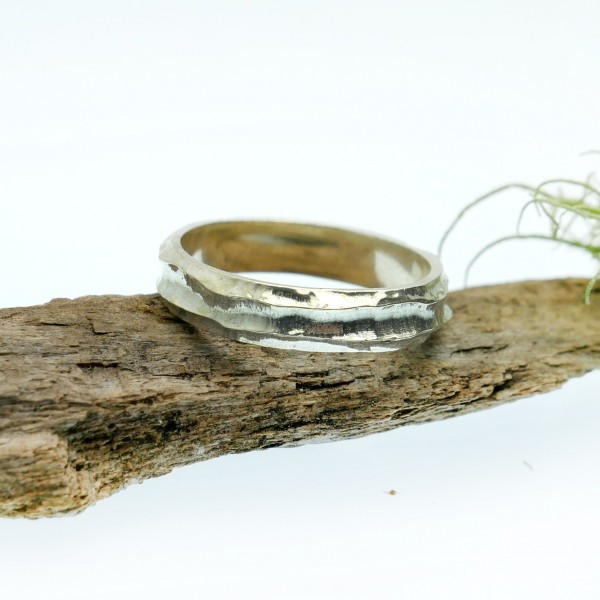 Minimalist Bamboo sterling silver ring Home 75,00€