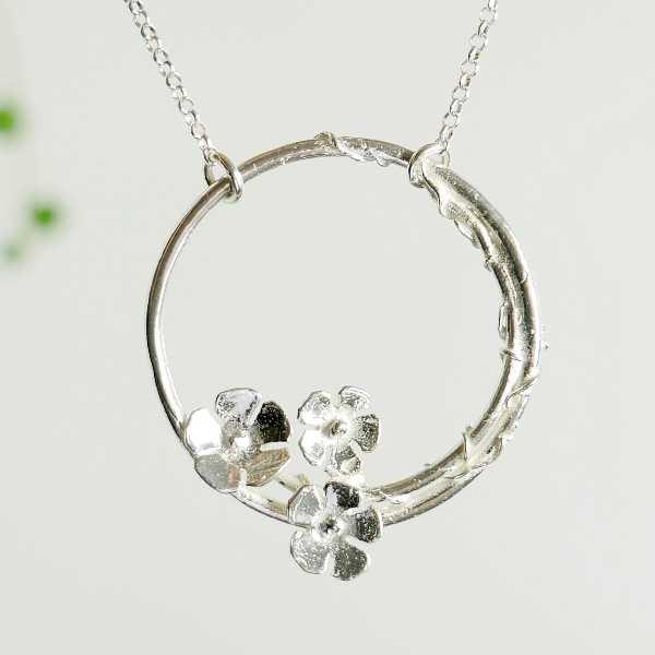 925/1000 silver cherry blossom pendant necklace made in France Desiree Schmidt Paris Sakura 77,00€